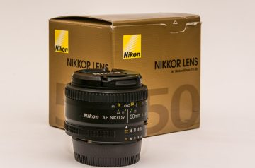 Nikon 50mm Prime lens with gold box
