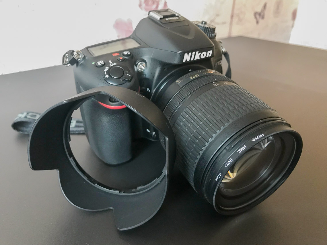 DSLR with UV filter and Lens Hood