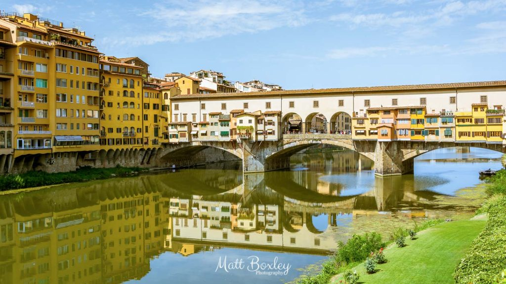 The Ponte Vecchio bridge is located in Florence, Italy and spans across the River Arno