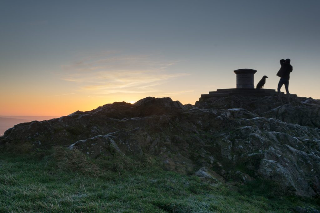 Man photographs dog at the Worcestershire Beacon